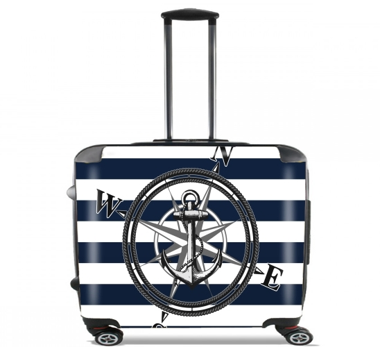 "Navy Striped Nautica for Wheeled bag cabin luggage suitcase trolley 17"" laptop"