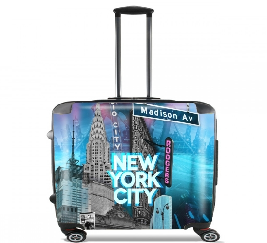 "New York City II [blue] for Wheeled bag cabin luggage suitcase trolley 17"" laptop"