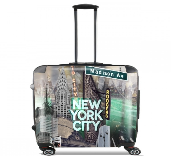 "New York City II [green] for Wheeled bag cabin luggage suitcase trolley 17"" laptop"