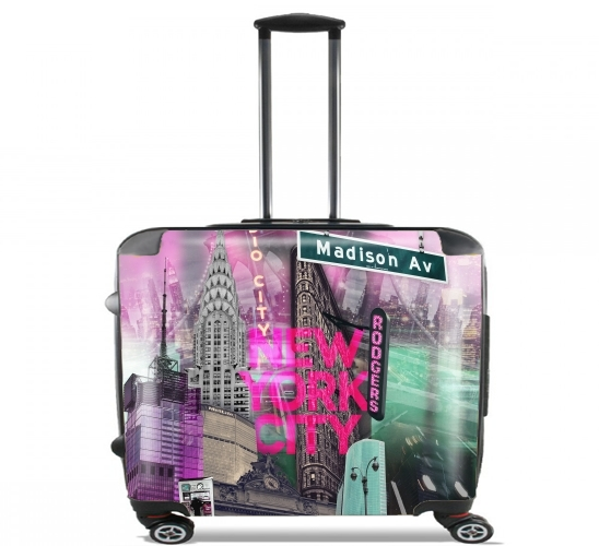 "New York City II [pink] for Wheeled bag cabin luggage suitcase trolley 17"" laptop"