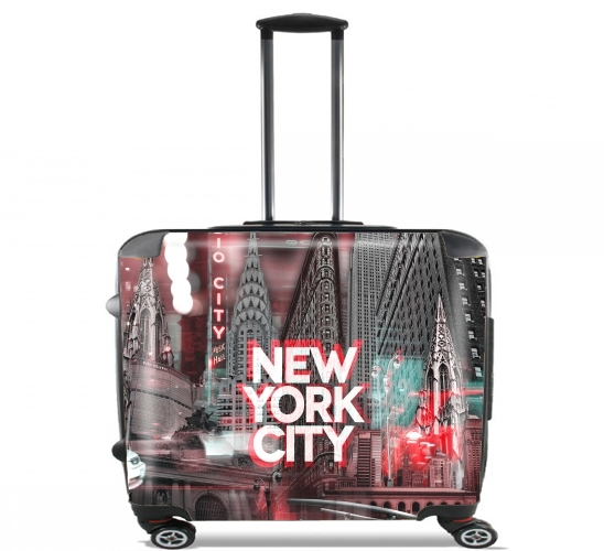 "New York City II [red] for Wheeled bag cabin luggage suitcase trolley 17"" laptop"