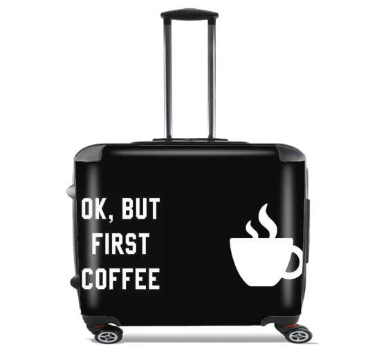 "Ok But First Coffee for Wheeled bag cabin luggage suitcase trolley 17"" laptop"