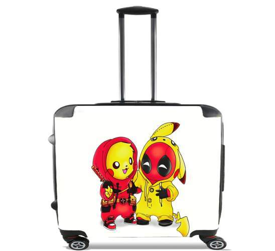 "Pikachu x Deadpool for Wheeled bag cabin luggage suitcase trolley 17"" laptop"