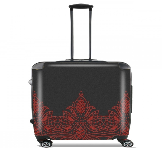 "Red Glitter Flower for Wheeled bag cabin luggage suitcase trolley 17"" laptop"