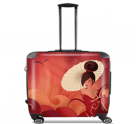 "Sakura Asian Geisha for Wheeled bag cabin luggage suitcase trolley 17"" laptop"