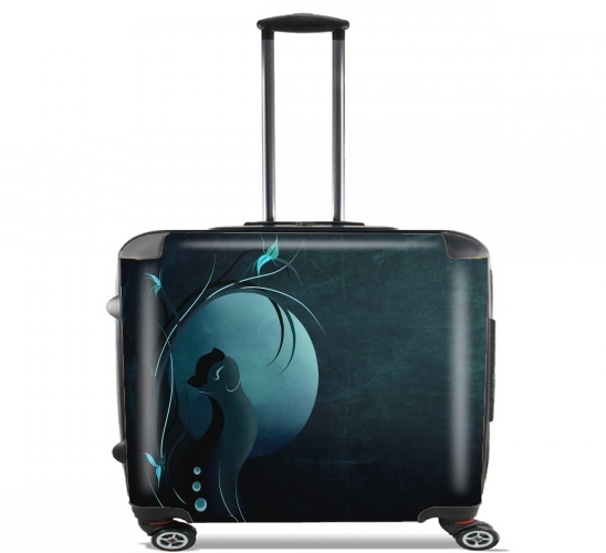"Sensual Cat in the Moonlight  for Wheeled bag cabin luggage suitcase trolley 17"" laptop"