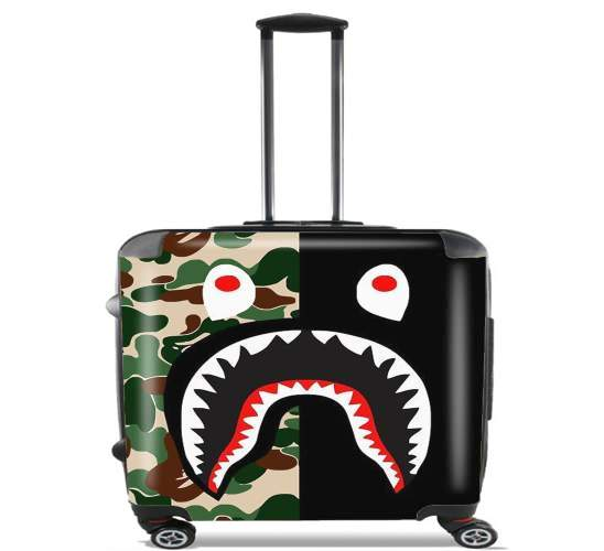 "Shark Bape Camo Military Bicolor for Wheeled bag cabin luggage suitcase trolley 17"" laptop"