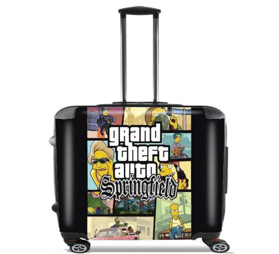 "Simpsons Springfield Feat GTA for Wheeled bag cabin luggage suitcase trolley 17"" laptop"