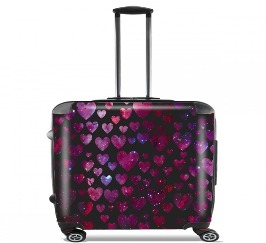 "Space Hearts for Wheeled bag cabin luggage suitcase trolley 17"" laptop"