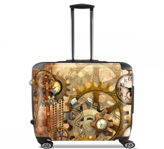 "steampunk for Wheeled bag cabin luggage suitcase trolley 17"" laptop"
