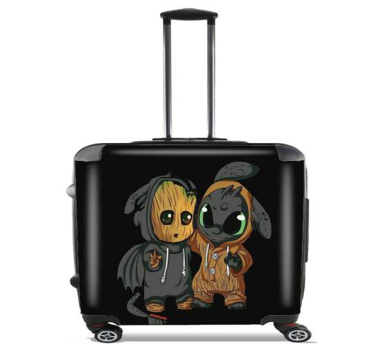 "Groot x Dragon krokmou for Wheeled bag cabin luggage suitcase trolley 17"" laptop"