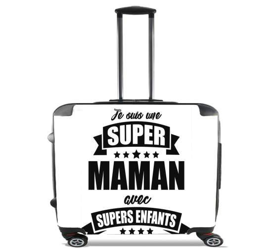 "Super maman avec super enfants for Wheeled bag cabin luggage suitcase trolley 17"" laptop"