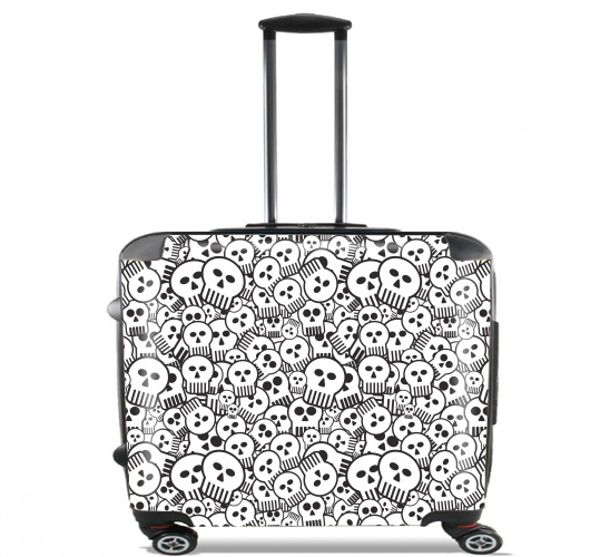 "toon skulls, black and white for Wheeled bag cabin luggage suitcase trolley 17"" laptop"