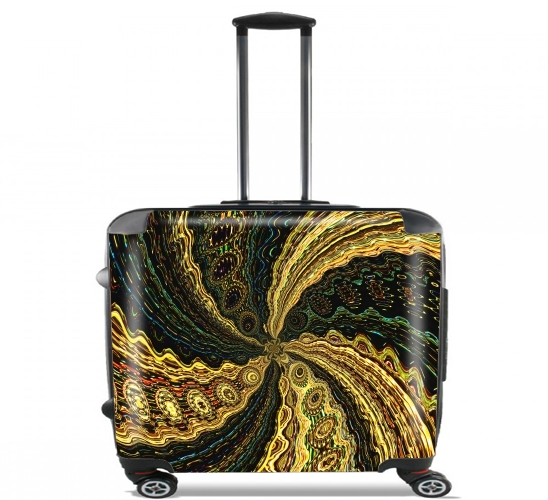 "Twirl and Twist black and gold for Wheeled bag cabin luggage suitcase trolley 17"" laptop"