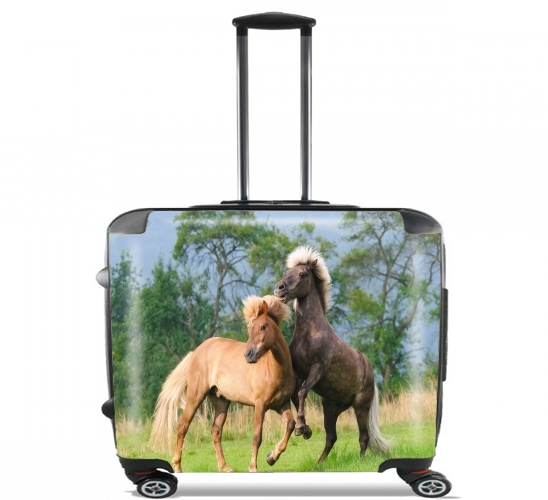 "Two Icelandic horses playing, rearing and frolic around in a meadow for Wheeled bag cabin luggage suitcase trolley 17"" laptop"