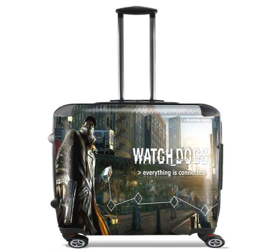 "Watch Dogs Everything is connected for Wheeled bag cabin luggage suitcase trolley 17"" laptop"