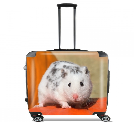 "White Dalmatian Hamster with black spots  for Wheeled bag cabin luggage suitcase trolley 17"" laptop"