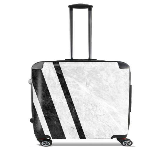"White Striped Marble for Wheeled bag cabin luggage suitcase trolley 17"" laptop"