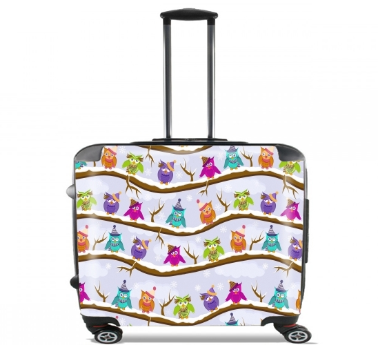 "winter owls for Wheeled bag cabin luggage suitcase trolley 17"" laptop"