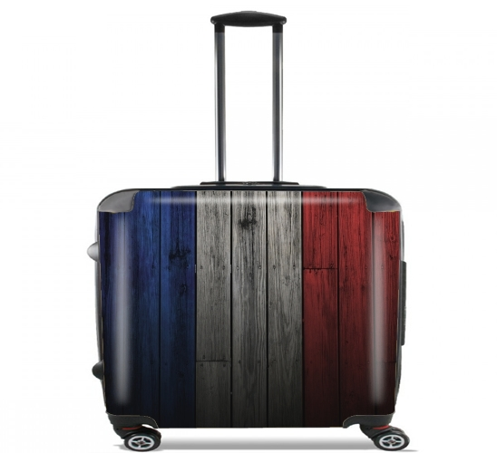 "Wooden French Flag for Wheeled bag cabin luggage suitcase trolley 17"" laptop"
