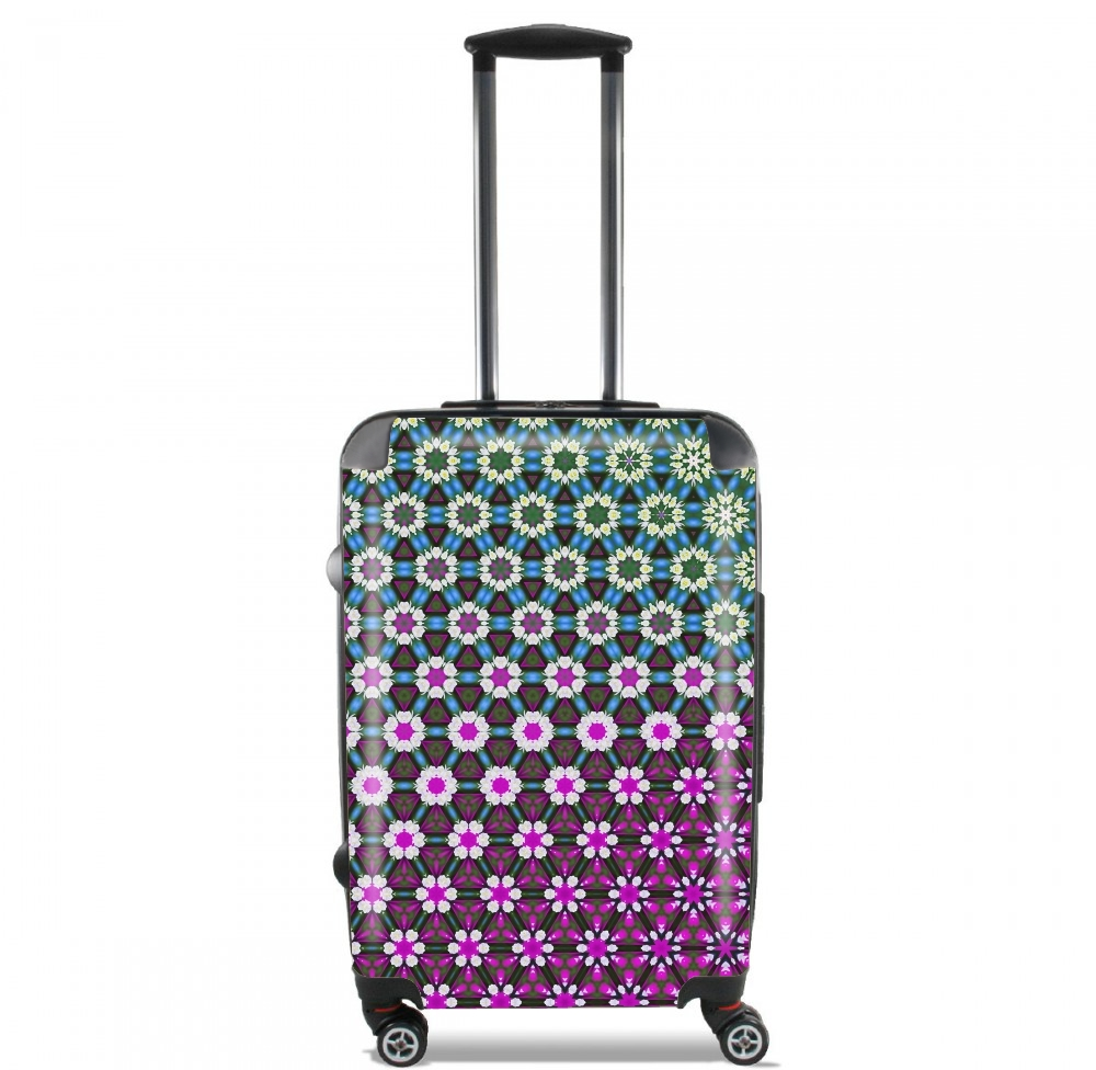 Abstract bright floral geometric pattern teal pink white for Lightweight Hand Luggage Bag - Cabin Baggage