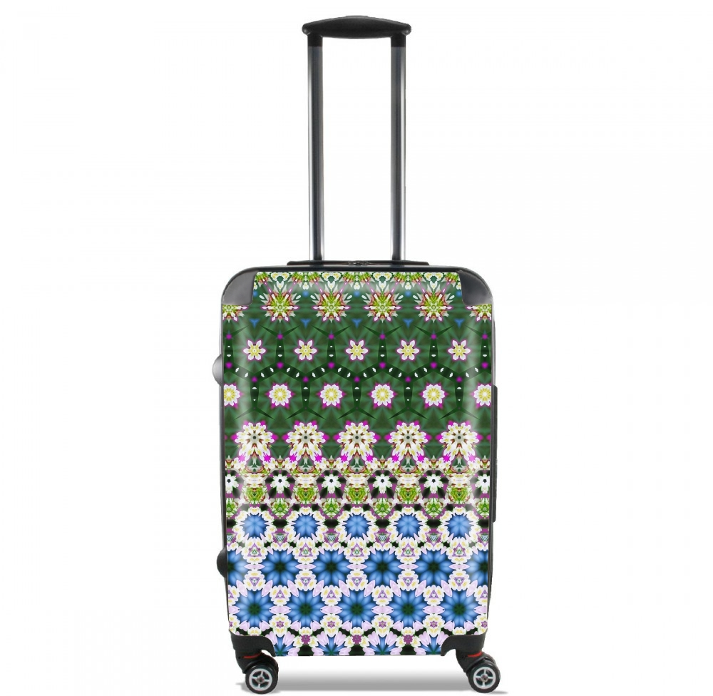 Abstract ethnic floral stripe pattern white blue green for Lightweight Hand Luggage Bag - Cabin Baggage
