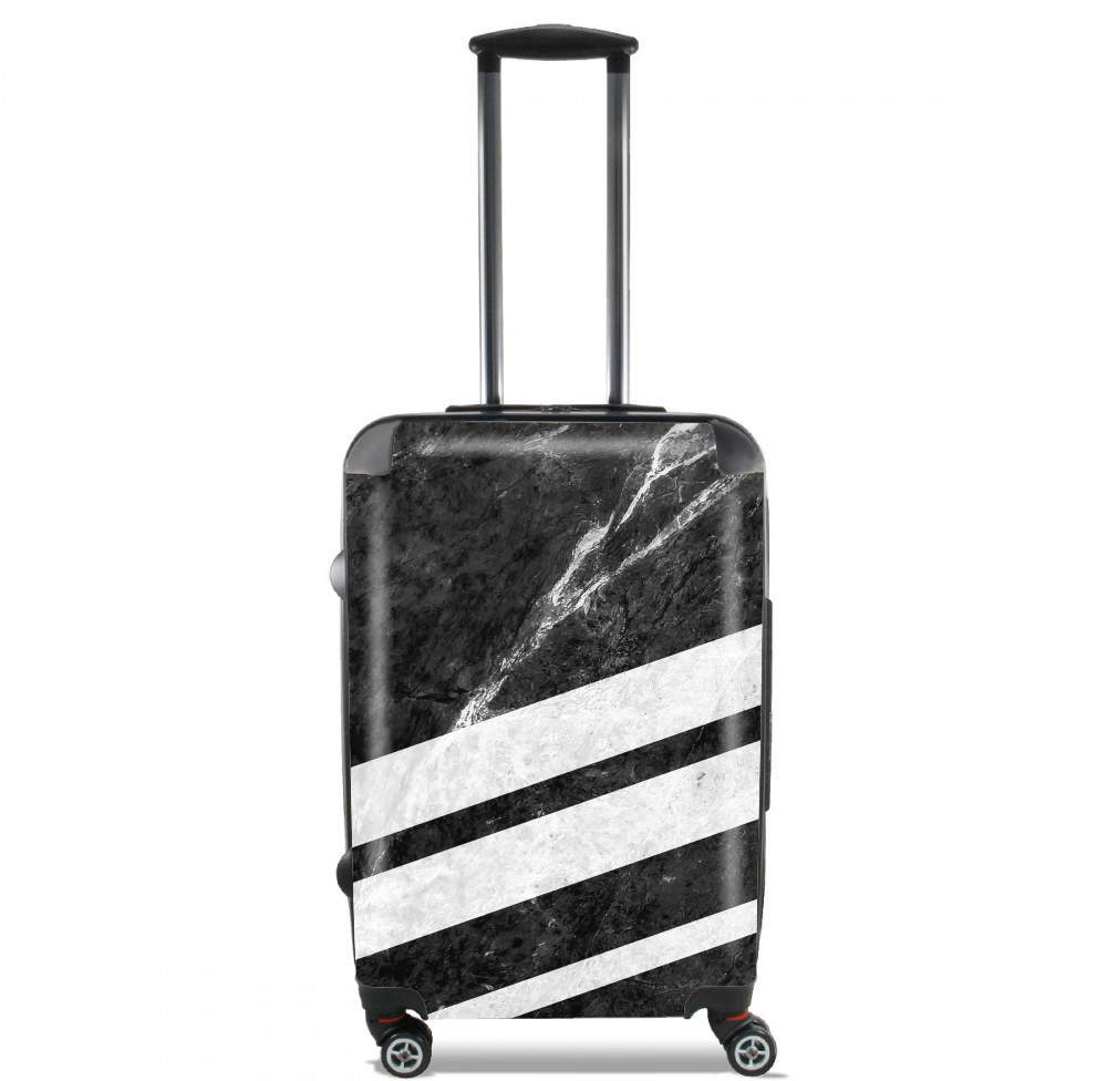 Black Striped Marble for Lightweight Hand Luggage Bag - Cabin Baggage