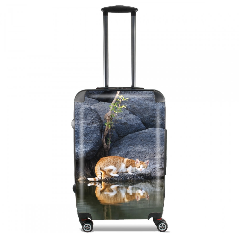 Cat Reflection in Pond Water for Lightweight Hand Luggage Bag - Cabin Baggage