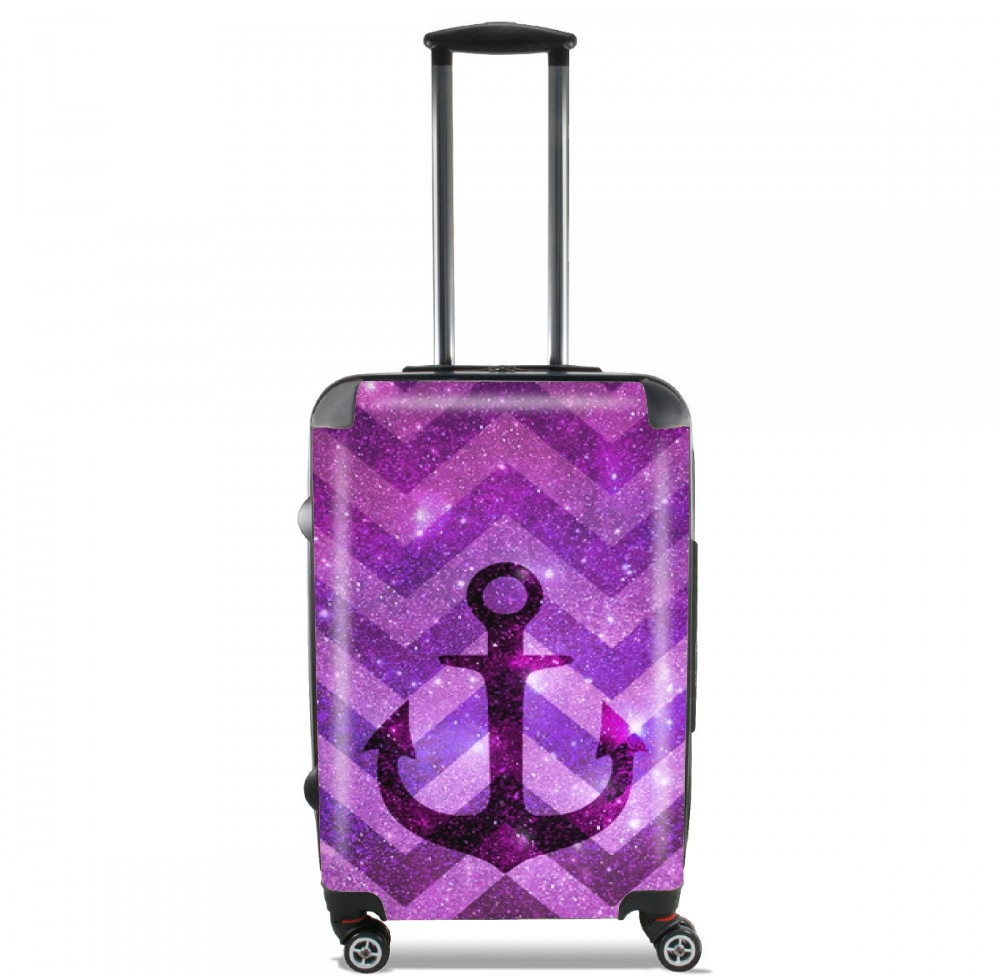 Anchor Chevron Purple for Lightweight Hand Luggage Bag - Cabin Baggage
