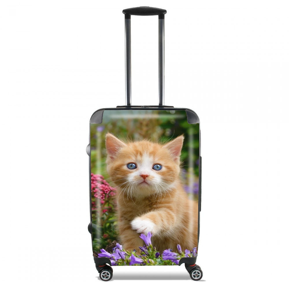 Cute ginger kitten in a flowery garden, lovely and enchanting cat for Lightweight Hand Luggage Bag - Cabin Baggage