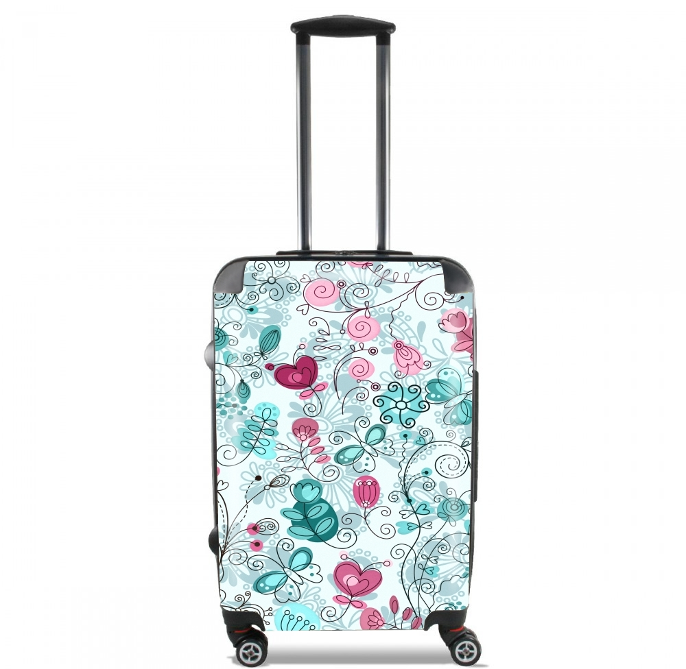doodle flowers and butterflies for Lightweight Hand Luggage Bag - Cabin Baggage