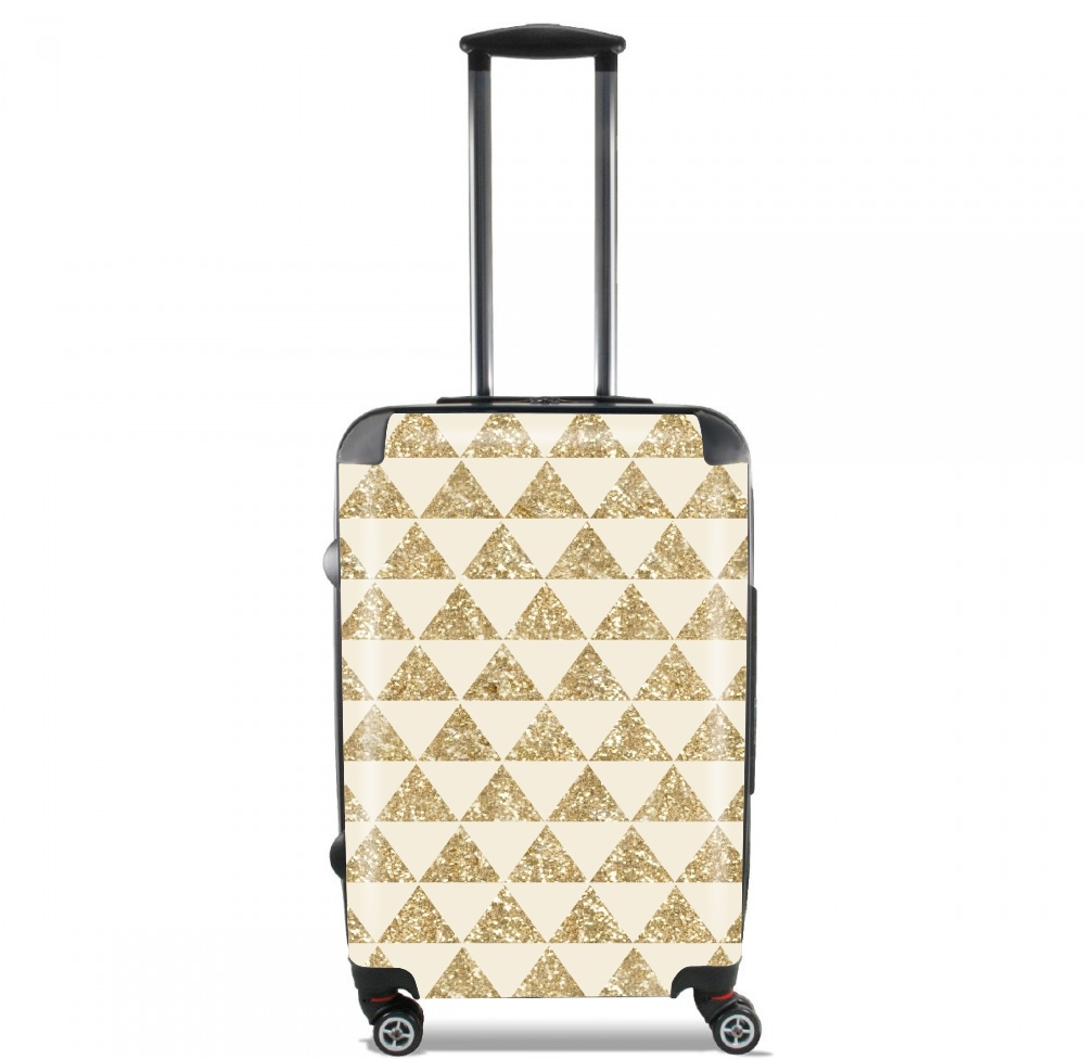 Glitter Triangles in Gold for Lightweight Hand Luggage Bag - Cabin Baggage