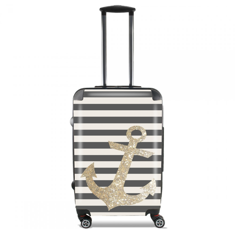 gold glitter anchor in black for Lightweight Hand Luggage Bag - Cabin Baggage