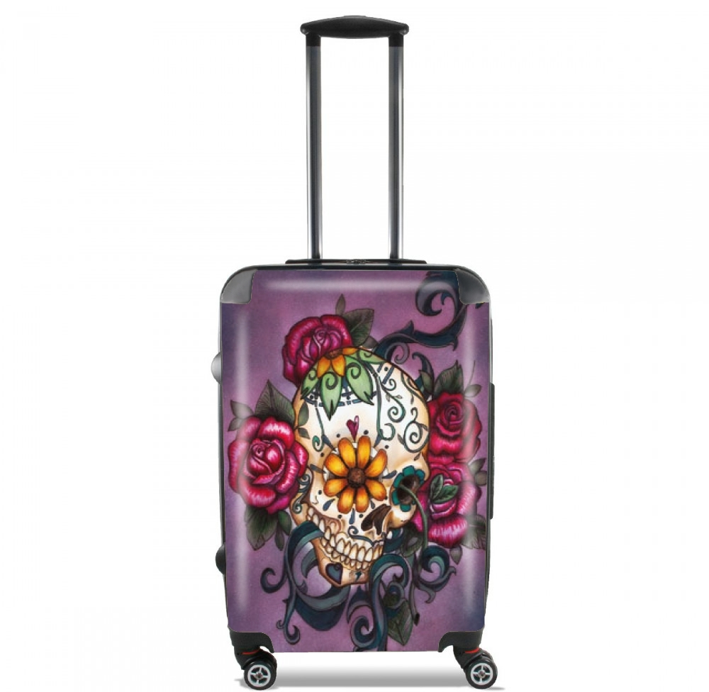 Skull Flowers Purple for Lightweight Hand Luggage Bag - Cabin Baggage