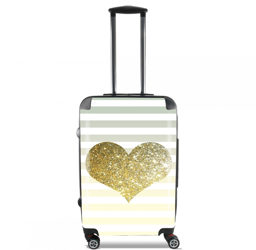 Sunny Gold Glitter Heart for Lightweight Hand Luggage Bag - Cabin Baggage