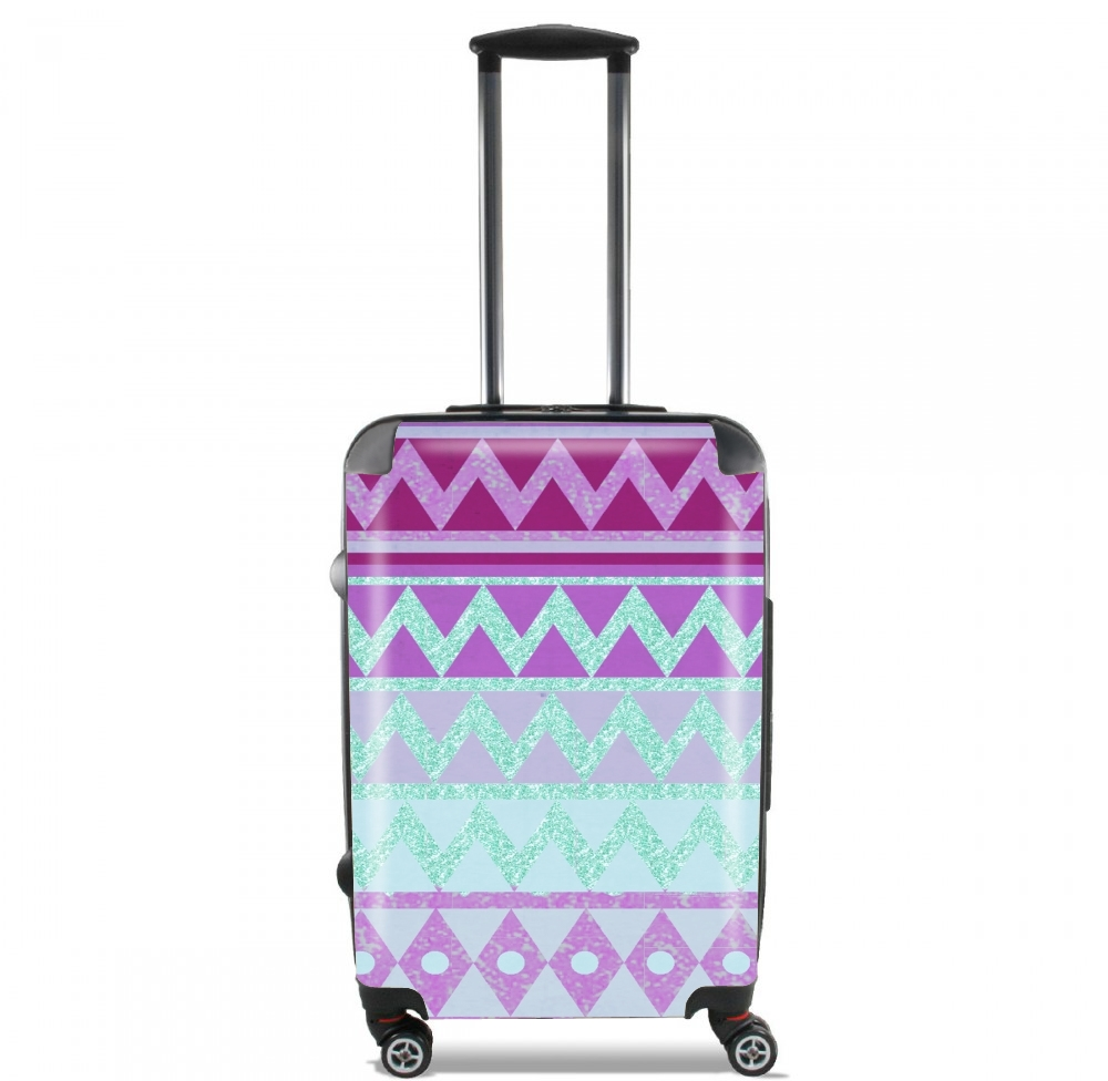 Tribal Chevron in pink and mint glitter for Lightweight Hand Luggage Bag - Cabin Baggage