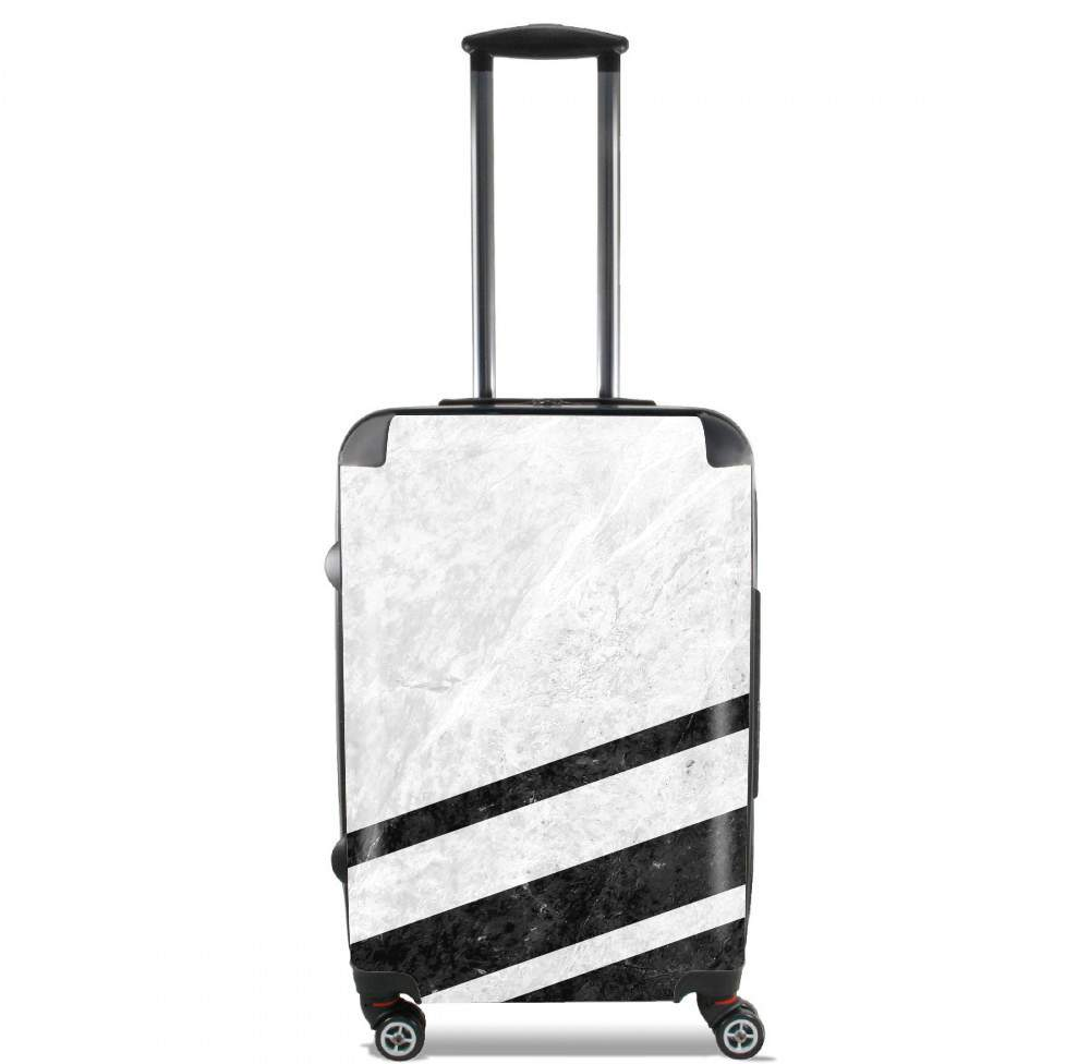 White Striped Marble for Lightweight Hand Luggage Bag - Cabin Baggage